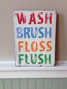 Kids bathroom wood wall hanging on Etsy, 11x14 Best Seller!! $40 Can customize to any bathroom colors!