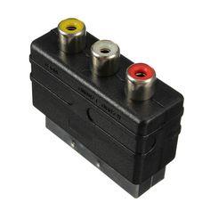 High quality 20 Pins SCART Male Plug To 3 RCA Female AV TV Audio Video Adaptor Converter IN