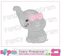 Elephant  girl Applique Digital Machine by FancyMonogram on Etsy