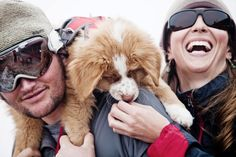 Darwin, an avalanche-dog-in-training, and his lucky owners.