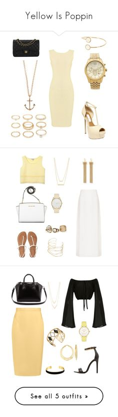 """Yellow Is Poppin"" by anishagarner ❤ liked on Polyvore featuring Therapy, Chanel, Steve Madden, Forever 21, River Island, Minor Obsessions, Michael Kors, Emporio Armani, Aéropostale and Chloé"