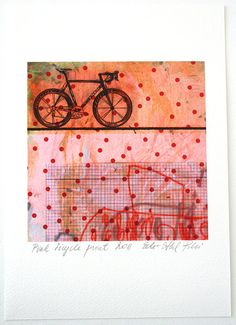 bicycle print gift art pink abstract modern home by eeliethel, $19.00