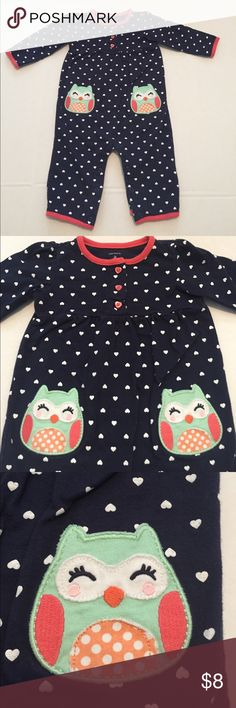 🦉 Jumpsuit Navy with white heart print jumpsuit has owl appliqué pockets on the front buttons between legs Carter's One Pieces