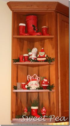 Christmas Shelves with vintage Santa boots