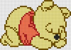 Adorable Sleeping Winnie The Pooh Perler Bead Pattern / Bead blanket or crochet pixel blanket Beaded Cross Stitch, Cross Stitch Baby, Cross Stitch Charts, Cross Stitch Designs, Cross Stitch Embroidery, Cross Stitch Patterns, Hand Embroidery, Kawaii Cross Stitch, Fuse Bead Patterns