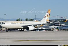 Etihad Airways Airbus A330-243 (registered A6-EYD) taxiing at Madrid-Barajas International Airport