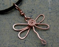 Copper Dragonfly Necklace - Dragonfly Pendant - Dragonfly Jewelry - Copper Wire Wrapped, Jewellery