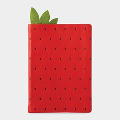 Strawberry Notebook. Vegan cover, suede leaf bookmark!