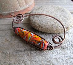 Shawl Pin / Orange scarf pin / Copper Shawl Pin / Wire Wrapped Fibula / 7th Anniversary Gift for Wife / Natural Scarf or Sweater Pin
