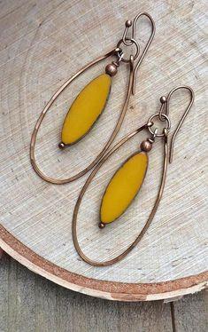 Boho Earrings Copper Hoops with Yellow Czech glass