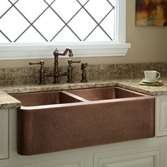33 Hammered Copper Offset Double-Bowl Farmhouse Sink - Small Bowl Left for sale online Stainless Steel Farmhouse Sink, Fireclay Farmhouse Sink, Copper Farmhouse Sinks, Farmhouse Sink Kitchen, Copper Kitchen, Kitchen Sinks, Farmhouse Decor, Copper Sinks, Kitchen Cupboard