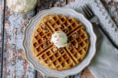 Carrot Cake Waffles with Cream Cheese Butter #justapinchrecipes