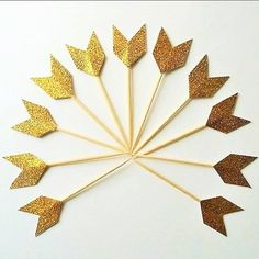 Gold Tribal Pow Wow Party Chevron Cupcake Toppers Gold by LynnsMix
