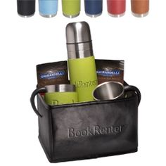 Tuscany� Thermos & Cups Ghirardelli� Cocoa Set ~Includes the Tuscany™ Thermos, two Tuscany™ Coffee Cups, the Venezia™ Folding Bin and two packets of Ghirardelli® Premium Hot Cocoa Mix. Thermos is 16.9 Oz. stainless steel #chocolateloversgift #premiumgift #thankyougift
