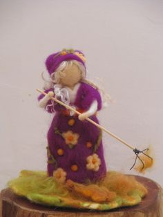 SALENeedle felted girl collecting fallen leaves by Made4uByMagic, $42.00