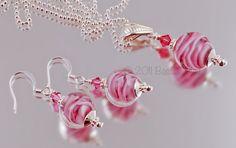 Pink Ribbons Necklace/Earring Set  SRA/SRAJD by BastilleBleu, $38.00