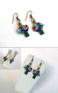 Beaded Earrings Tree Of Life Seed Beads Earrings by GULDENTAKI