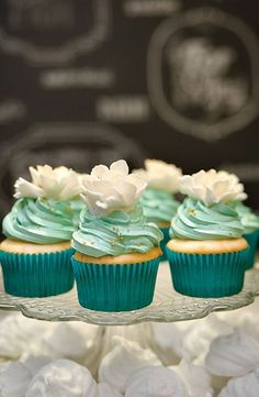 cupcake mariage turquoise blanc aqua carnet d'inspiration mariage mademoiselle cereza