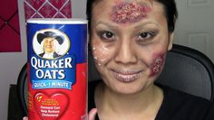 Easy Zombie Walking Dead Makeup Tutorial - eyelash glue and oatmeal!