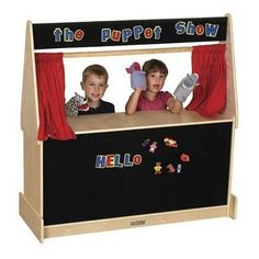 The ECR4Kids preschool Puppet Theater that's a full 4-feet wide, and features sturdy, birch construction so two or more children can join in the fun together. The puppet theater includes stage curtain