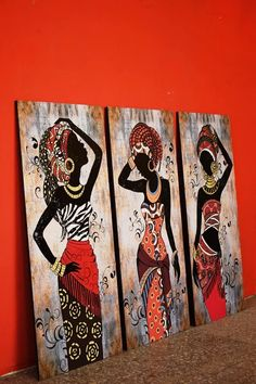 Africanas Mujeres Cuadros Trípticos Living Deco | Mercado Libre African Drawings, African Art Paintings, Canvas Painting Designs, Diy Canvas Art, Art Africain, Africa Art, Art Inspiration Drawing, Egyptian Art, Elements Of Art