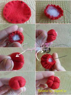 Felt Crafts Patterns, Fabric Crafts, Sewing Crafts, Sewing Projects, Felt Diy, Handmade Felt, Felt Flowers, Fabric Flowers, Felt Fruit