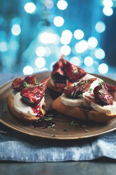 Need Christmas starters ideas? These little goats cheese and thyme scented fig toasts will brighten up a chilly winter's day. Featuring a delicious fig compote, which you can also make as a quick chutney for your Christmas table. It's wonderful with ham or Stilton too and will keep in the fridge for 5 days in a sealed container. Taking just 30 minutes to prepare and 10 minutes cooking on the hob, this recipe makes up to 24 servings - great when hosting.