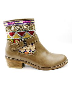 Look at this Corrina Taupe Topa Geo Bootie on #zulily today!