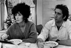 Cher and Nicolas Cage ~ As Loretta Castorini and Ronny Cammareri in Moonstruck (1987) ~ 59 Great Movie Couples