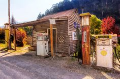 FILL'ER UP Woods Point, Victoria, Australia. This old service station in Woods Point is a great reason to visit the little township.  You have to be serious to get here, as it is in the middle of a long stretch of rough gravel road and a long way from the rest of civilization.  But I made it there and very pleased that I did.  The servo isn't used anymore and many of the original artefacts that used to adorn the building have been removed for safe keeping, unfortunately.