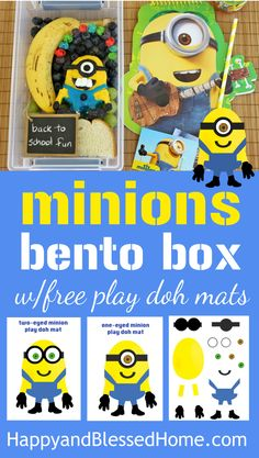 FREE Printable Minions Play Doh Mats and Minions Bento Box Tutorial easy lunch recipe for kids from HappyandBlessedHome.com Perfect for back to school, homeschool, kid's birthday parties, minions themed party, or kid's activity playing with play doh #QuakerTime #ad #freeprintables