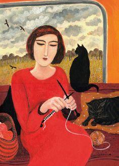 'Casting On' by Painter Dee Nickerson. Blank Art Cards By Green Pebble. www.greenpebble.co.uk