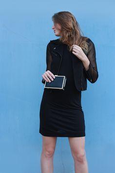 Light Blue Street Fashion --- a simple black dress