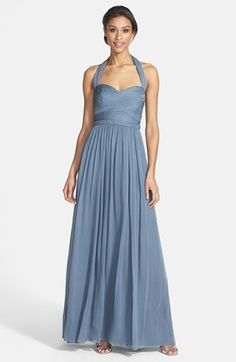 ML Monique Lhuillier Bridesmaids Monique Lhuillier Bridesmaids Crinkled Silk Chiffon Halter Gown available at #Nordstrom