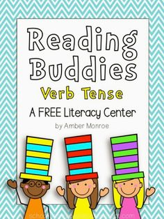 FREE Literacy Center-past and present tense verb matching; cute activity during Read Across America