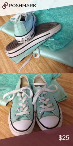 Girls All-Star Converse shoes Authentic All-Star Converse tennis shoes. Pretty light green, excellent condition Converse Shoes Sneakers