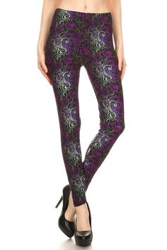 Achieve a funky and stylish look in our Purple Hypnotic Swirl Plus Size Leggings.  The unique purple, gray and black swirl design has a modern feel that is great for dressing up or down.  This is a bold leg fashion piece that will flatter your legs and show off your daring sense of style. Pair our Purple Hypnotic Swirl Leggings with some ankle boots and a leather jacket for a killer look.