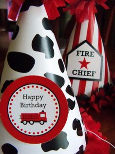 Fire Truck Birthday Party Kit by CupcakeWishesStore on Etsy