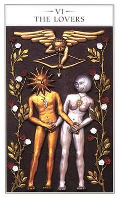 The Lovers from the Renaissance Tarot. I thoroughly enjoy the symbolism above literal title. This is a simple, but excellent rendering of that principle.