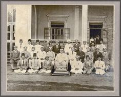 March 1936: Photo taken in India on the occasion of the presentation of a casket by a group of Ismaili missionaries to Mawlana Sultan Mahomed Shah to mark the occasion of his Golden Jubilee. The Casket was created and donated by 'Senior' Missionary Alijah Moloobhai Allarakhia Jangbarwalla. Photographed by: Golden Art Studio; Photo: The Late Ameer Janmohamed Collection, London, UK.