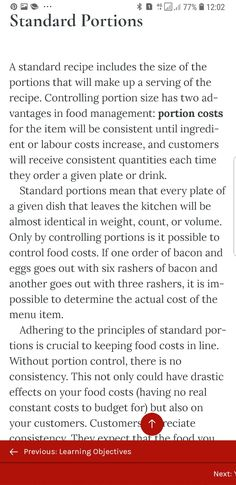 Standard Recipe, Labour Cost, Food Cost, Portion Sizes, Ads