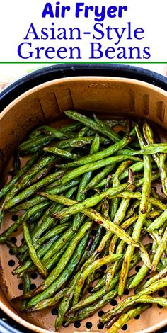 Air Fryer Asian-Style Green Beans - Skinny Southern Recipes recipe for two Air Fryer Oven Recipes, Air Fryer Dinner Recipes, Air Fryer Recipes Green Beans, Air Fryer Recipes Asian, Air Fryer Recipes Vegetables, Healthy Vegetables, Veggies, Air Fried Vegetable Recipes, Toaster Oven Recipes