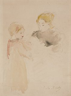 """Berthe Morisot, """"Mother and Child,"""" n.d. Watercolor and pencil. 8 13/16 x 6 5/8 in. (22.4 x 16.8 cm). Collection UCLA Grunwald Center for the Graphic Arts, Hammer Museum. Dorothy Brown Bequest."""