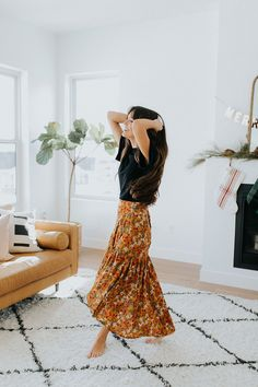 DETAILS: - Mustard wrap midi skirt - Floral detailing - Ruffled hem - 100% rayon MEASUREMENTS (measured with garment laying flat): - S: Waist: 32 cm, Hip: 36 cm, Length: 77 cm - M: Waist: 38 cm, Hip: 42 cm, Length: 78.5 cm - L: Waist: 42 cm, Hip: 45 cm, Length: 80 cm