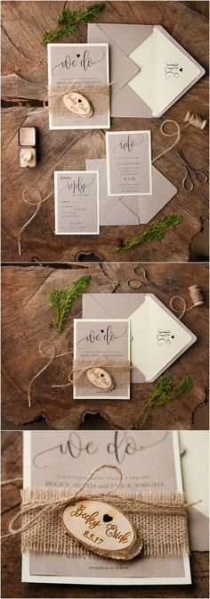 Rustic burlap and real wood wedding invitations @4LOVEPolkaDots