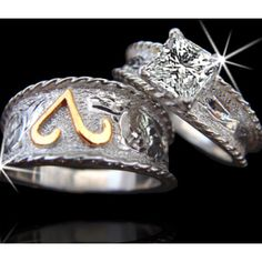 Western wedding set engagement rings Pinterest Westerns