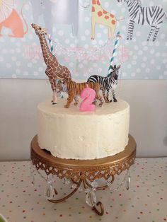 Zoo animals and polka dots Birthday Party cake! See more party planning ideas at CatchMyParty.com!