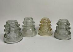 Glass Insulators Lot - 4 Vintage Glass Insulators Hemingray Buy It Now Antique | Collectibles, Bottles & Insulators, Insulators | eBay!