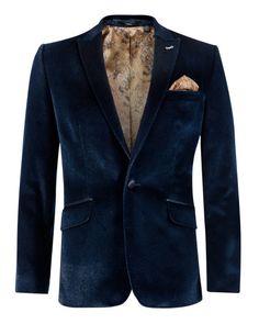 SPARKIL - Velvet sparkle jacket - Navy | Men's | Ted Baker