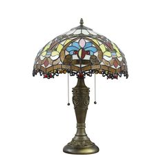 16inch European Retro Style Table Lamp Horse Base Colorful Flower